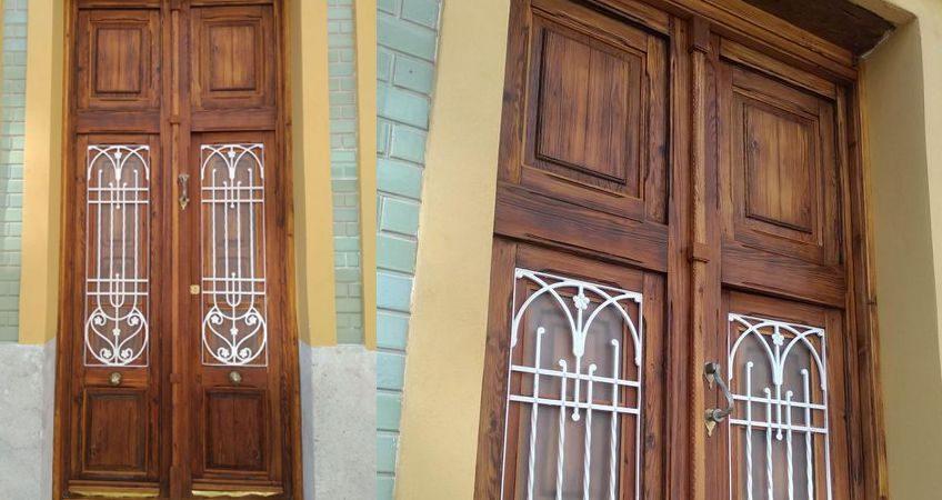 Restauración puerta exterior de vivienda en mobila vieja